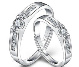 1 Paar Damen Herren Trauringe Öffnung Ehe- Verlobungs- & Partnerringe Mit Diamant Verstellbar 925er Sterling Silber Persönlichkeit Verlobungsringe