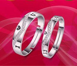 1 Paar Damen Herren Ringe Öffnung Ehe- Verlobungs- & Partnerringe Verstellbar 925er Sterling Silber I LOVE U Alphabet als Ewige Liebe Geschenke