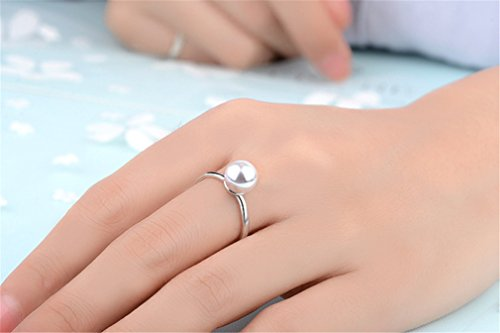 Damen Ringe Öffnung Verstellbar 925er Sterling Silber mit Edel Perlen Partnerschaftsringe Trauringe Verlobungsring-8MM