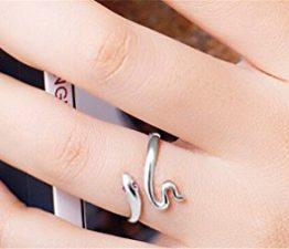 Ringe Damen Verstellbare Eheringe Nagelring Versilbert Freundschaftsringe Schlange-Form