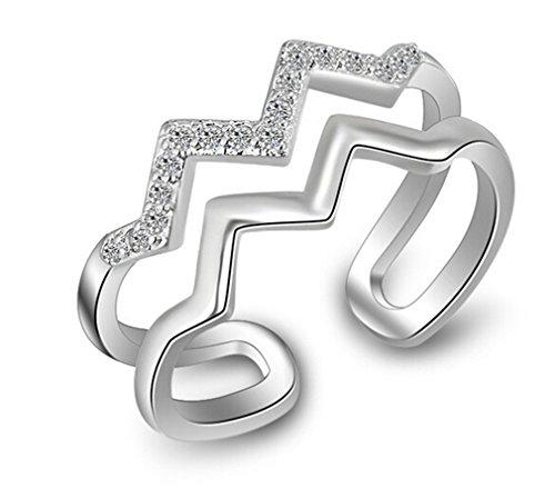 Damen Ringe Öffnung Verstellbar 925er Sterling Silber mit Zirkonia Personalisierte Dopple Kurve stil Partnerschaftsringe Trauringe -VerSilbertrt