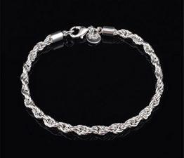 Damen Frauen Armbänder Versilbert 925er Silber Twist Hanf-Armbänder