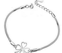 Damen 925 Sterling Silver Bling Armband Armkettchen Charmsarmband Clover Blumen Armreifen Geschenk für Kinder Mädchen