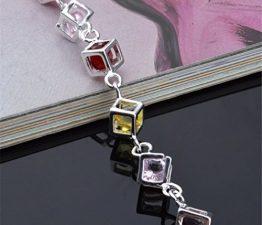Damen Armband Schmuck 925 Sterling Silber Diamant Armkette mit Anhänger Verstellbar Charmsarmband Länge 21 cm