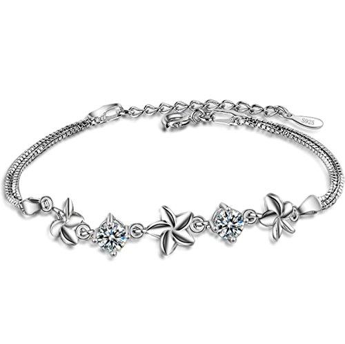 Damen Armband Armschmuck Armkette Armreifen aus 925 Sterling Silber Diamant Klee Einfach Mode Persönlichkeit Süß Elegant Geburtstagsgeschenk Weihnachten