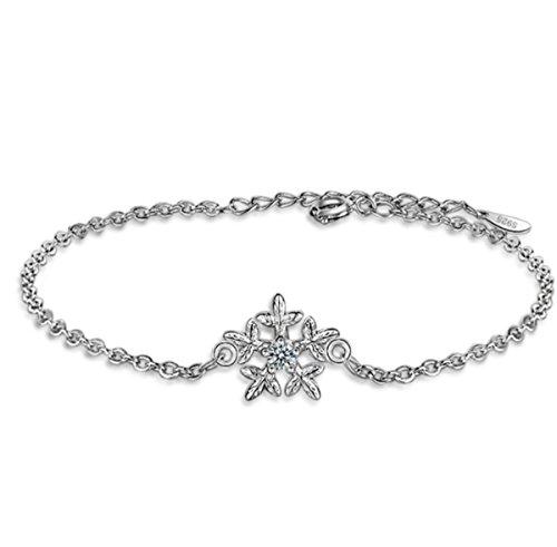 Damen Armband Armschmuck Armkette Armreifen aus 925 Sterling Silber Schneeflocken Persönlichkeit Wild Einfach Frisch Literatur und Kunst Geburtstagsgeschenk Weihnachten