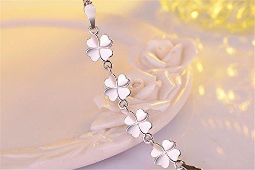 Damen Armband Armschmuck Armkette Armreifen aus 925 Sterling Silber Süß Blumen Klee Frisch Mode Klee Klavierkette Geburtstagsgeschenk Weihnachten