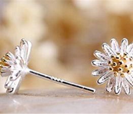Ohrringe Damen Maedchen 925 Sterling Silber Edel Ohtstecker Gänseblümchen Einfache Stil
