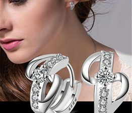 Creole Damen Maedchen 925 Sterling Silber Edel Ohtstecker mit Zirkonia 8-Form Hohl Spikes Ohrclip