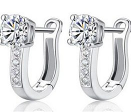 Creole Damen Maedchen 925 Sterling Silber Edel Ohtstecker mit Bling Diamant U-Form Ohrclip