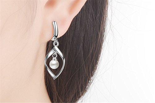 Creolen Damen mädchen 925er Sterling Sliber mit Perlen Twist Kurven Einfache Ohrhänger Als Geschenk