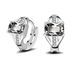 Unisex Creolen Zirkon Ohrringe aus 925 Sterling Silber