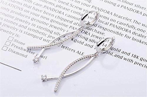 Creolen Damen mädchen 925er Sterling Sliber mit Glitzer Diamant Fisch-Form Ohrhänger