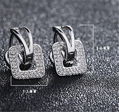 1 Paar Damen Creolen Retro 925er Sterling silber mit Edel Bling Zirkon Ohrringe