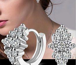 Damen Creolen Klein Creolen Glänzend Zirkonia 925 Sterling Silber Ohrringe Geschenk für Mädchen Kinder