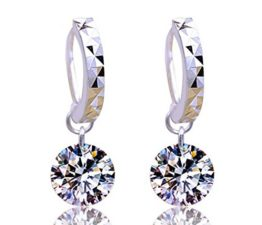 Creolen Damen mädchen 925er Sterling Silber mit AAA Zirkonia Runde Anhänger Mode Hypoallergen Ohrringe ohrhänger