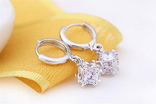 Creolen Damen mädchen 925er Sterling Silber mit AAA Zirkonia Cube Lange Edel Hypoallergen Ohrringe ohrhänger