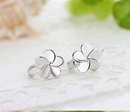 1 Paar Damen creolen 925er Sterling silber Glückliche Vier Klee Blumen Nett Ohrringe