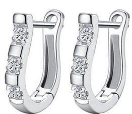 Damen Creolen Glänzend Zirkonia 925 Sterling Silber Ohrringe für Hochzeit Frauen