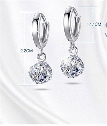 1 Paar Damen Creolen 925er Sterling silber mit Würfel Bling-bling Zirkon Anhänger Ohrhänger Ohrringe