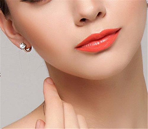 Damen-Creolen Mode Ohrringe 925 Sterling-Silber Zirkonia Hochzeit Braut Ohrringe