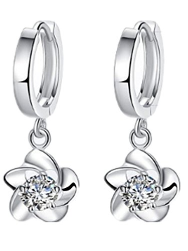 1 Paar Damen creolen lange Ohrhänger Blumen hypoallergic 925er Sterling silber mit Zirkon Ohrringe