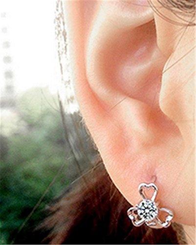 Damen-Creolen Blumen Zirkon Ohrringe 925 Sterling Silber Clover Diamant-Ohrringe