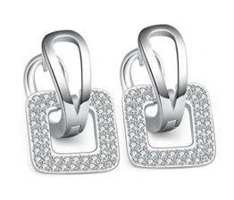 Damen-Creolen Zirkon Ohrringe 925 Sterling Silber Mode Braut Ohrringe