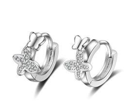 Creolen Damen mädchen 925er Sterling Sliber mit Zirkonia Schmetterling Mode Ohrringe