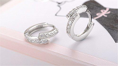 1 Paar Damen Creolen 925er Sterling silber unregelmäßig Zirkon Glitter Ohrringe