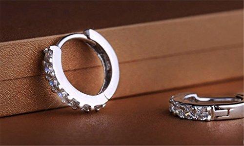 Damen-Ohrringe Creolen 925 Sterling-Silber Polierte einzelne Zeile Diamant Ohrring