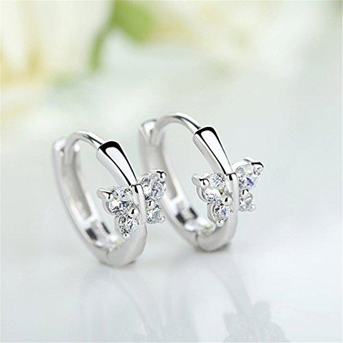 Creolen Damen mädchen 925er Sterling Silber mit AAA Zirkonia Schmetterling Hypoallergen Ohrringe