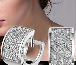 Unisex Creolen Klapp-Creolen Glänzend Zirkonia 925 Sterling Silber Ohrringe