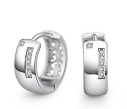 Herren Damen-Creolen Mode Ohrringe 925 Sterling-Silber Hohl Zirkonia Ohrringe