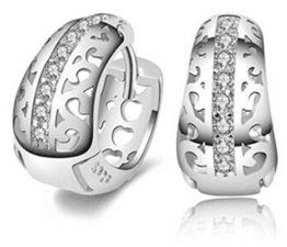 Creole Damen Maedchen 925 Sterling Silber Hohle Blumen mit Diamant Spikes Edel Stil