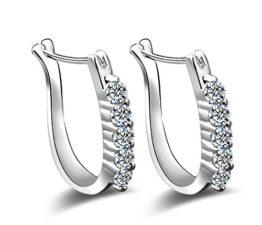 Creole Damen Mädchen 925 Sterling Silber U-Forme Einreihige Zirkonia Ohrringe Bling Bling Schmuck