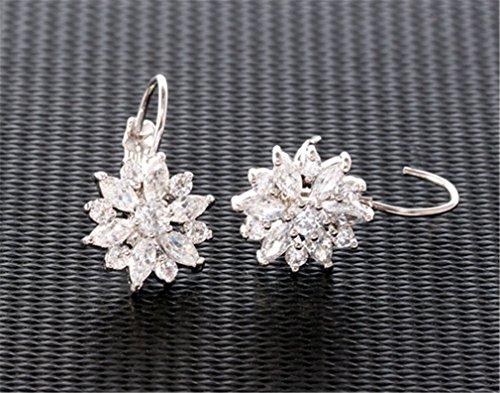 Damen Schmuck Zirkon Blumen Creole Ohrringe Modeschmuck Ohrringe