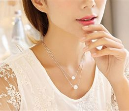 Frauen Kurz Collier Anhänger Dopple Perlen mode 925er Silber Schmuck Süße Edel Claviclekette-Y-Kette+Anhänger