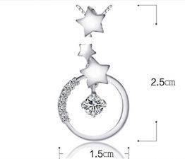 Damen Collier Runde Sterne mit Zirkonia Anhänger 925er Silber Kurze Edel Claviclekette-Y Als Weihnachten Geschenke