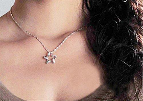 Frauen Kurz Collier Anhänger Fünf Sterne 925er Silber Süße Claviclekette-Y-Kette+Anhänger