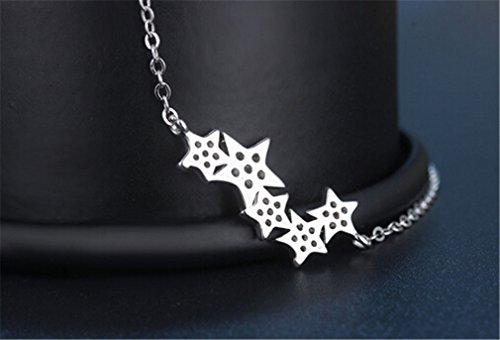 Frauen Kurz Collier Anhänger 925er Sterling Silber Verschiedene Sterne mit Zirkonia Mode Edel Claviclekette-Y-Kette+Anhänger
