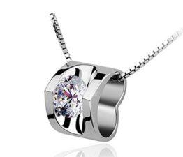 Frauen Collier Kleine Hohle Herz Anhänger mit Zirkonia 925er Silber Süße Claviclekette-Y-Kette+Anhänger