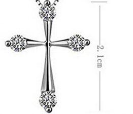 Damen-Kette Halskette mit Kreuz Diamant-Anhänger Claviclekette Weibliche Schmuck Ketten Geburtstagsgeschenk