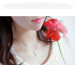 Damen elegant Halskette mit Zirkon Anhänger Weibliche Schmuck Ketten Geburtstagsgeschenk