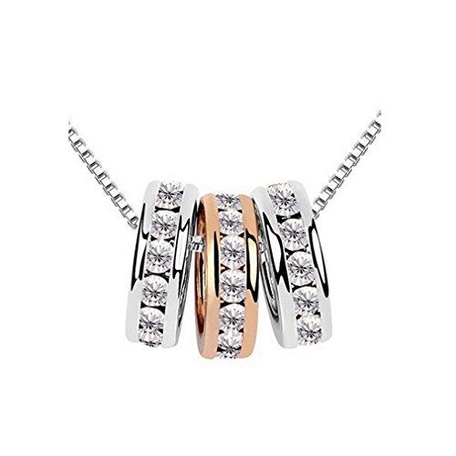 Damen-Kette Halskette mit Anhänger 3 kugel Diamant Claviclekette Weibliche Geburtstagsgeschenk