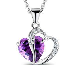 Damen-Kette Halskette mit Anhänger Kristall Herz Mode Schmuck Geschenk für Freundin Kinder