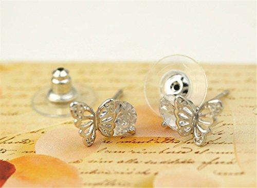 Frauen Damen Ohrringe Einfache Stil Schmetterling mit Zirkon Kugel Ohrstecker