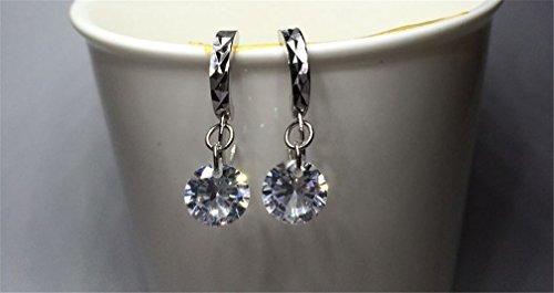 1 Paar Damen creolen 925er Sterling silber mit 8M Zirkon hängend Edel Ohrringe
