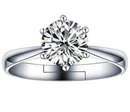 Damen Ringe Öffnung AAA Zirkonia Verstellbar 925er Sterling Silber Trauringe Verlobungsringe Memoir-Ringe