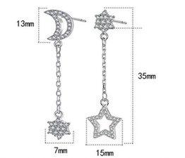 Ohrhänger Damen Mädchen 925er Sterling Sliber Lange mit Troddel Asymmetrische Mond und Sterne Ohrringe